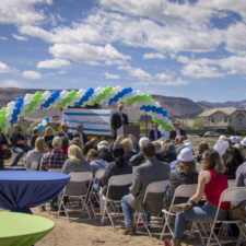 Partners speak on stage at FCL's March 18th ground break