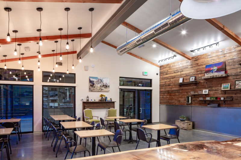 Interior Dining Reclaimed wood wall Cottonwood Station Eatery